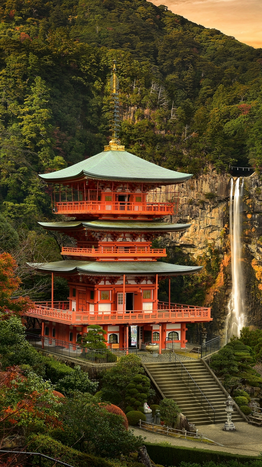 Download Japanese Temple And Cherry Trees Wallpaper For iPhone 4