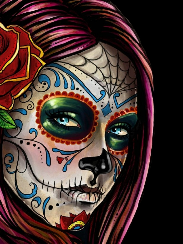 Artistic Sugar Skull 768x1024 Mobile Wallpaper
