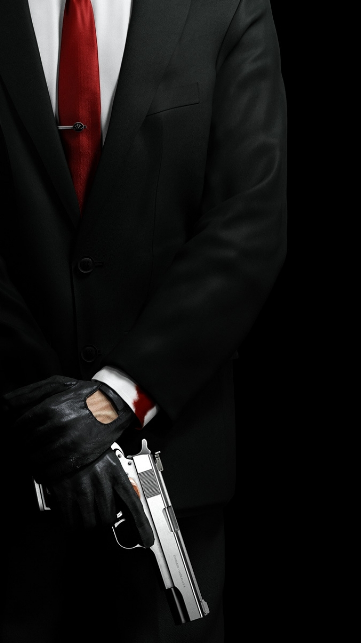 ... Preview wallpaper hitman, barcode, bald, pistol, agent 47