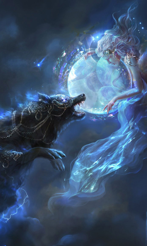 Fantasy Wolf 480x800 Mobile Wallpaper