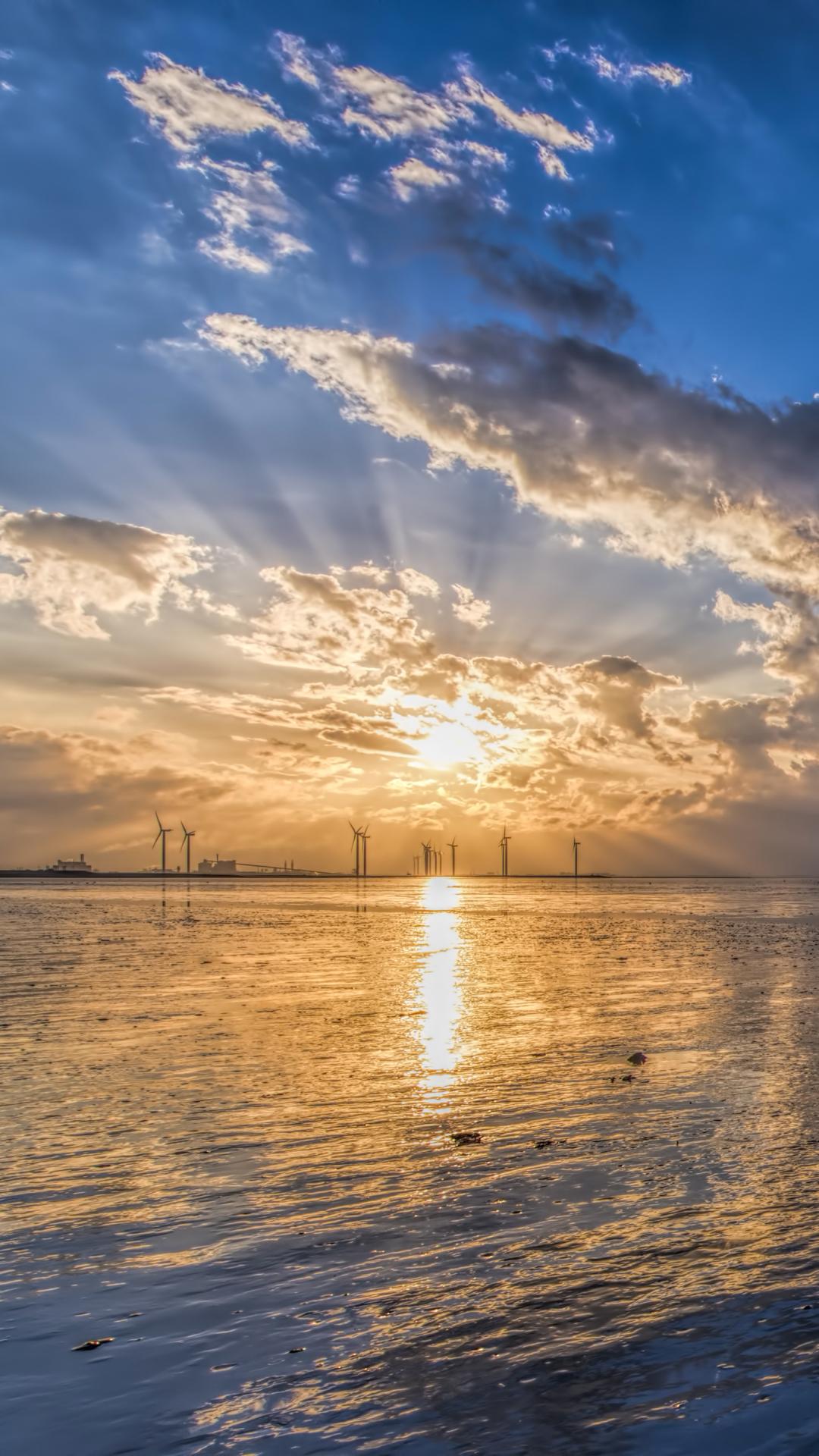 ... Reflection Horizon Sky Cloud Wind Turbine Sunbeam Mobile Wallpaper