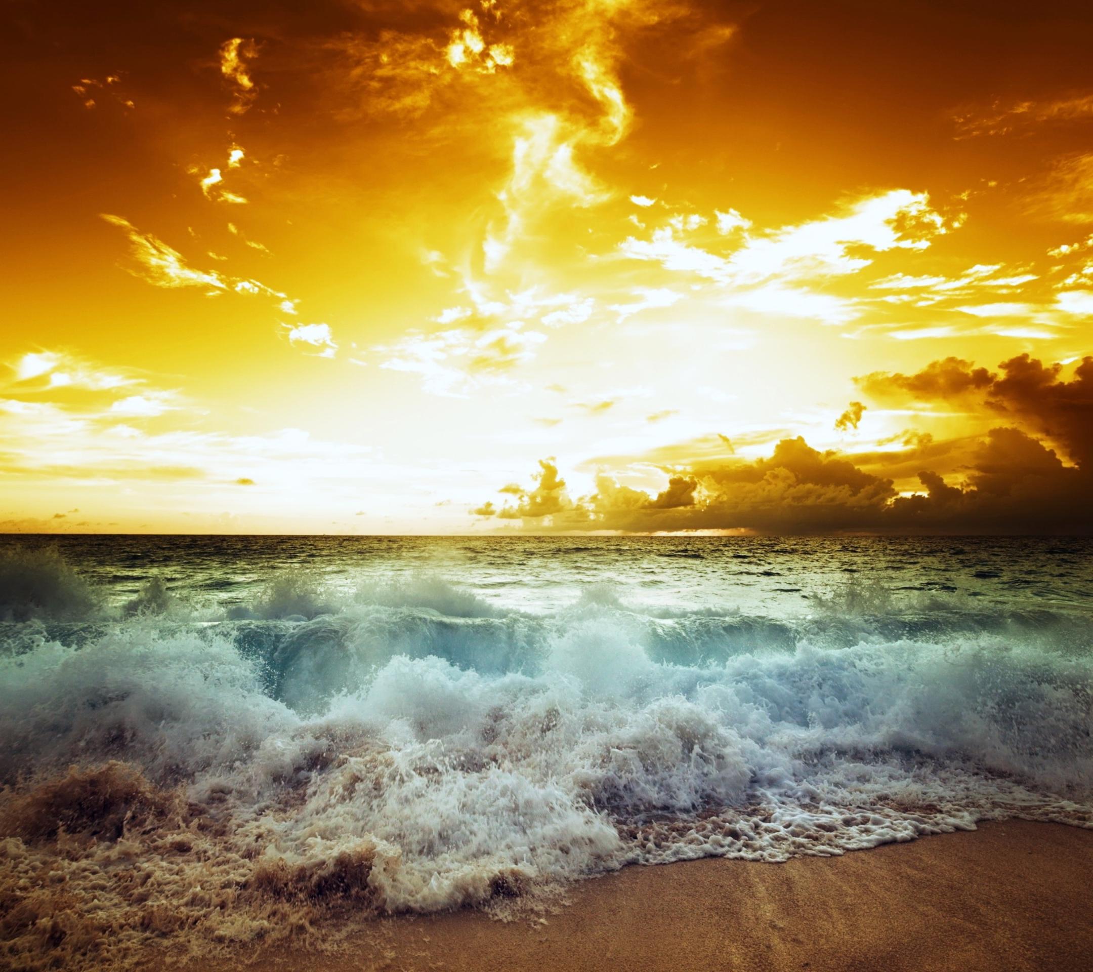 закат над бушующим морем  № 602774 бесплатно