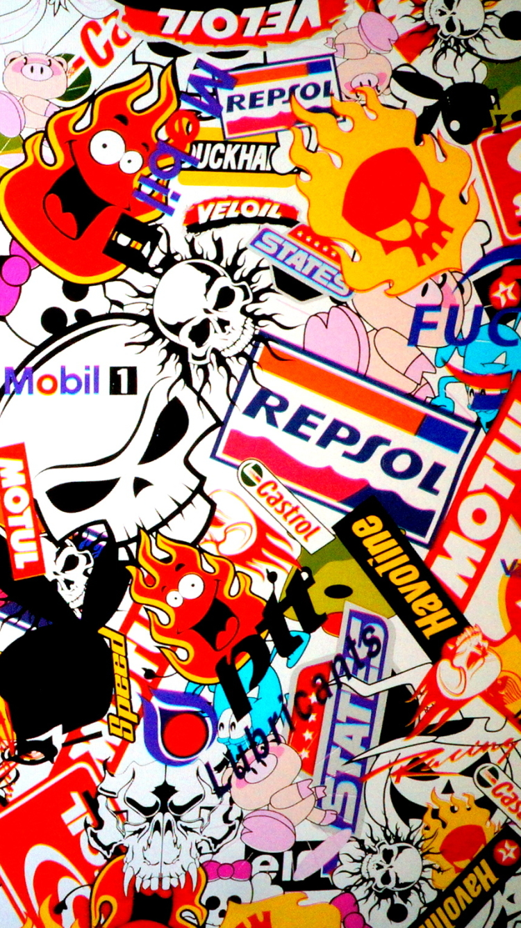 2 Sticker Bomb Apple IPhone 6 750x1334 Wallpapers
