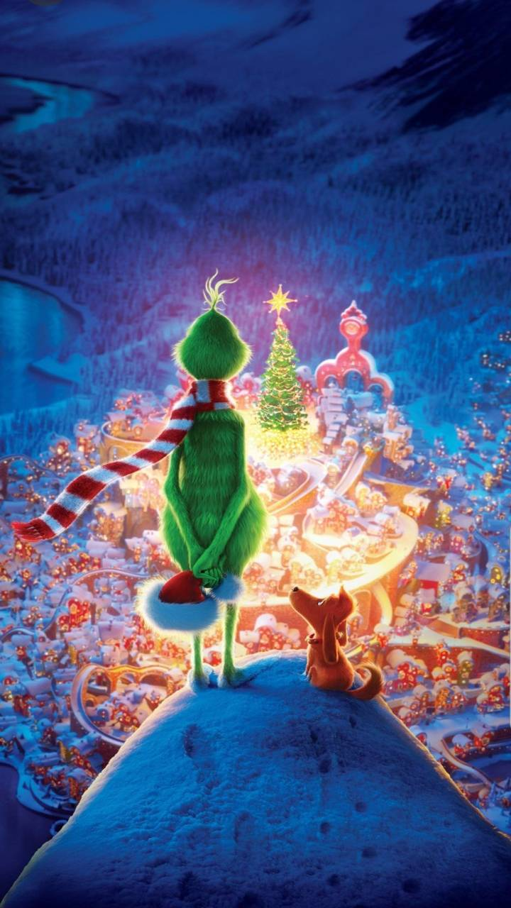 Grinch Looking Down on Whoville Movie / The Grinch (720x1280) Mobile Wallpaper