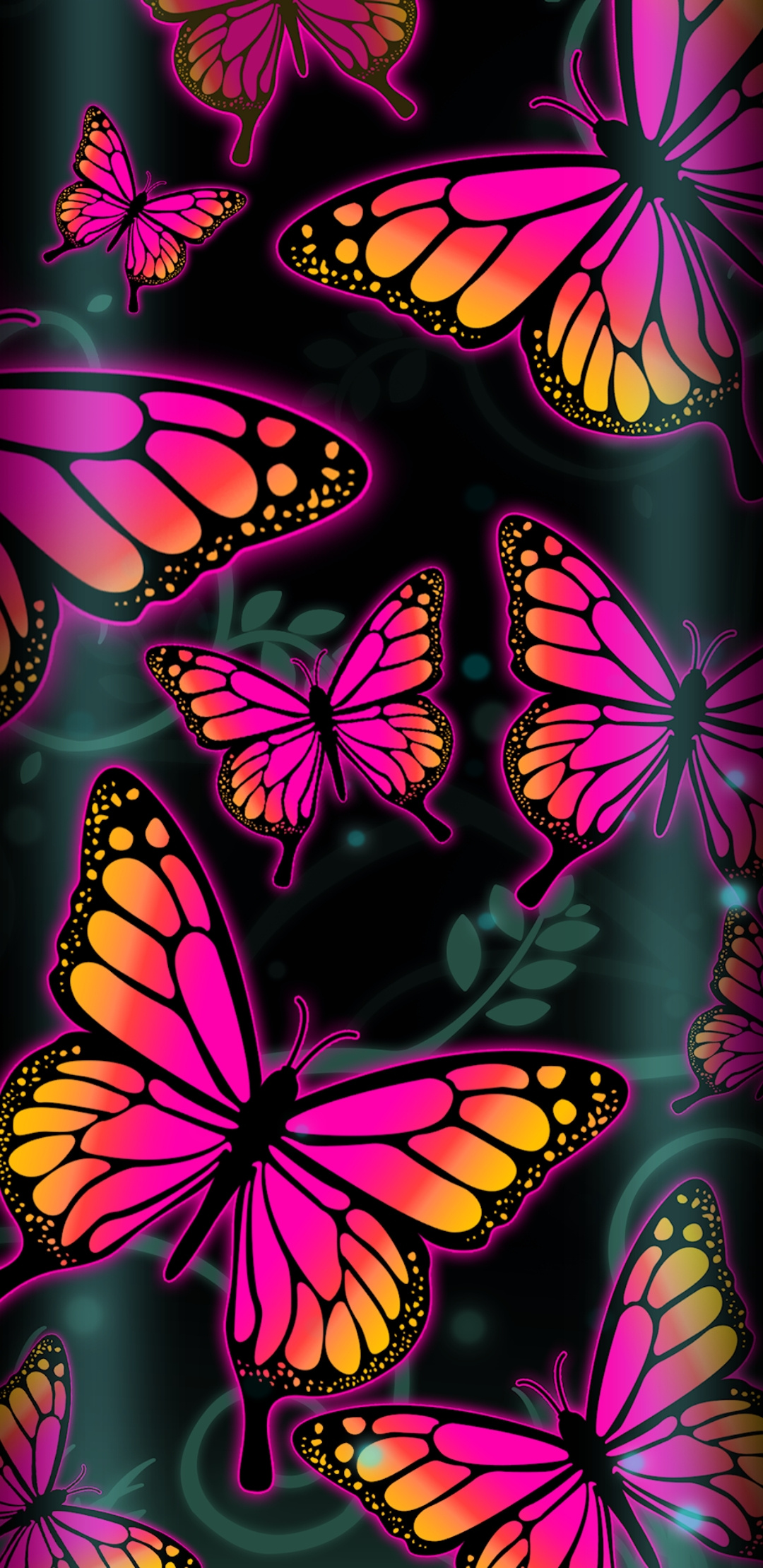Colorful Neon Butterfly Wallpaper